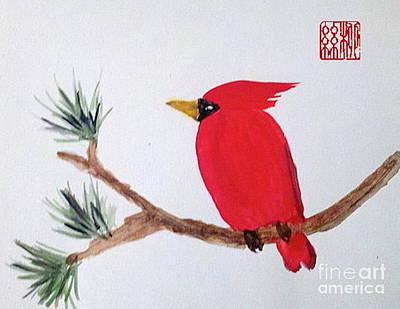 Cardinal In My Backyard Art Print