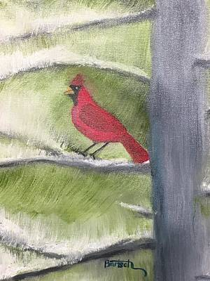 Painting - Cardinal In My Pine Tree by David Bartsch