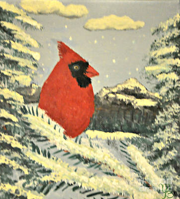 Painting - Cardinal In Snow  by Mindy Bench