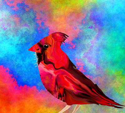 Conceptual Digital Art - Cardinal In The Sunshine by Abstract Angel Artist Stephen K