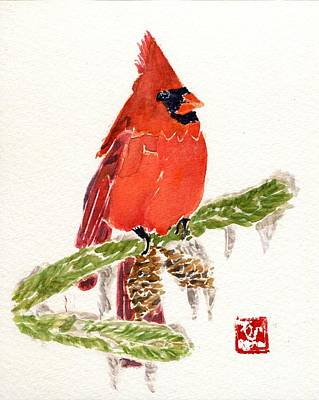 Painting - Cardinal In Winter by Andrea Rubinstein