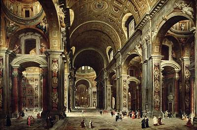 Aisle Painting - Cardinal Melchior De Polignac Visiting St Peters In Rome by Giovanni Paolo Pannini or Panini