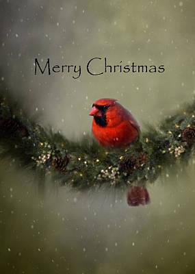 Digital Art - Cardinal Merry Christmas by Ann Bridges