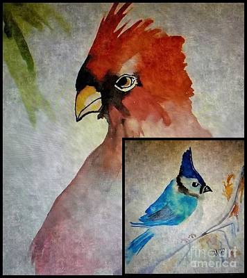 Painting - Cardinal N Bluebird by Maria Urso