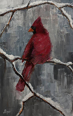 Painting - Cardinal North Carolina State Bird In Snow by Gray Artus