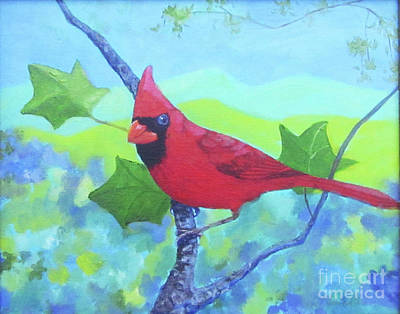 Painting - Cardinal On A Branch by Anne Marie Brown