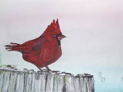 Painting - Cardinal On A Fence Post by Carole Robins