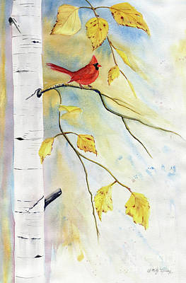 Painting - Cardinal On Birch Tree by Melly Terpening