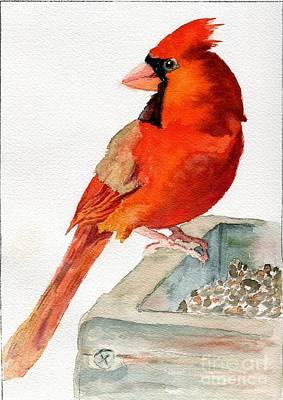Painting - Cardinal On Birdfeeder by Andrea Rubinstein