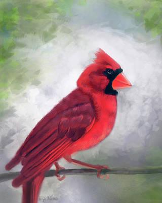 Digital Art - Cardinal On Branch by Angela Murdock