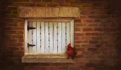 Linda King Digital Art - Cardinal On Brick Wall Window 5655 by Linda King