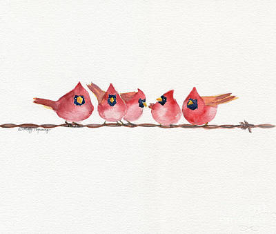 Painting - Cardinal On The Wire by Melly Terpening