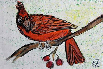 Painting - Cardinal Painting Prints #891 by Ella Kaye Dickey