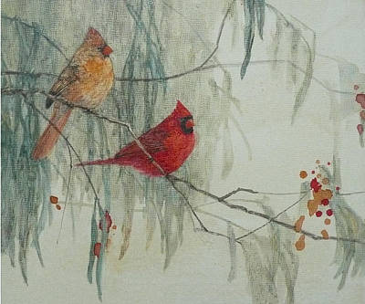 Wall Art - Painting - Cardinal Pair II by Floy Zittin