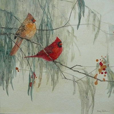 Wall Art - Painting - Cardinal Pair by Floy Zittin