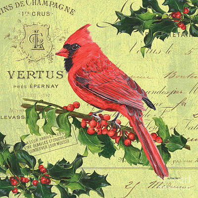 Christmas Greeting Painting - Cardinal Peace by Debbie DeWitt