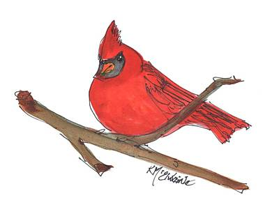 Painting - Cardinal Red Bird by Kathleen McElwaine