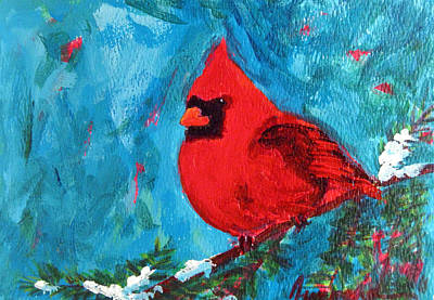 Snow Covered Pine Trees Painting - Cardinal Red Bird Watercolor Modern Art by Patricia Awapara
