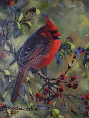 Painting - Cardinal by Valentin Katrandzhiev