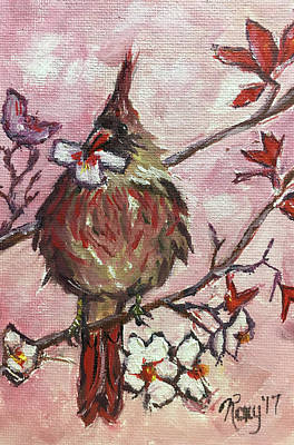 Animals Painting - Cardinal With A Cherry Blossom by Roxy Rich