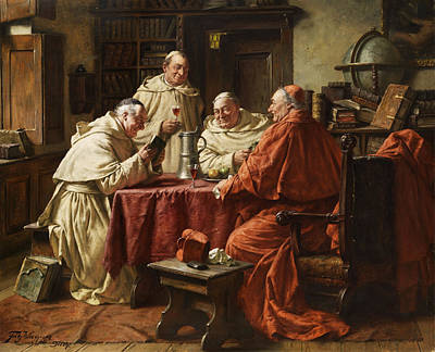 Interior Scene Painting - Cardinal With Monks by Fritz Wagner