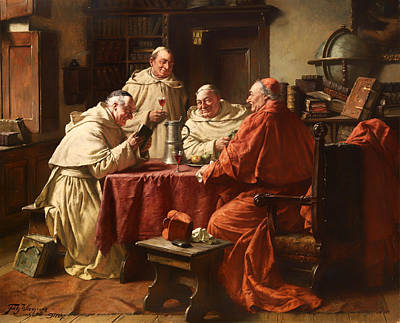 Christian Artwork Painting - Cardinal With Monks In A Monastery Library by Mountain Dreams