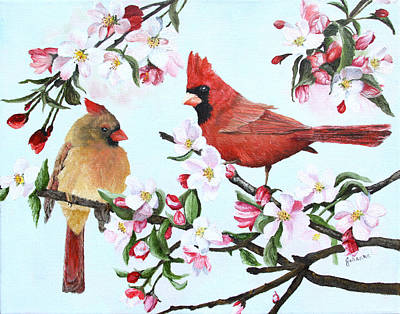 Cardinals And Apple Blossoms Original