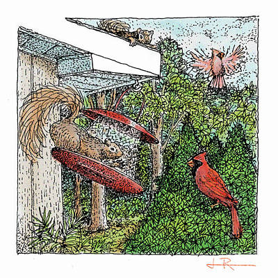 Cardinals And Squirrels Art Print