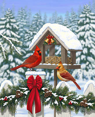 Red Ribbon Digital Art - Cardinals Christmas Feast by Crista Forest