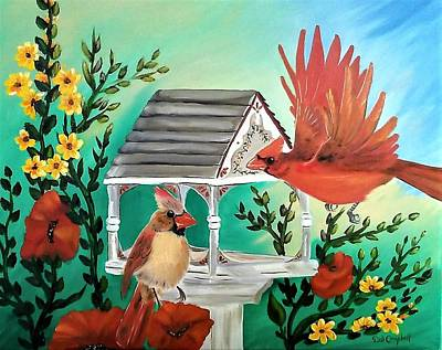 Painting - Cardinals by Debra Campbell