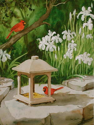 Cardinals Feeding Art Print by Faye Ziegler