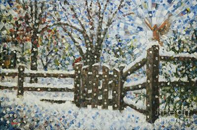 Snow Scene Painting - Cardinals I I I / Garden Gate I I by Jim Rehlin