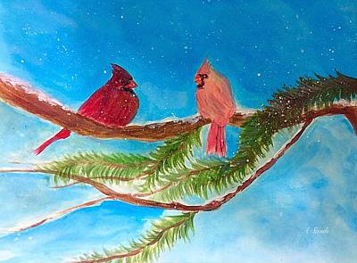 Painting - Cardinals In The Snow by Anne Sands