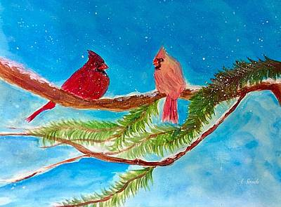 Painting - Cardinals In Winter by Anne Sands