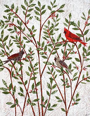 Mixed Media - Cardinals by Janyce Boynton