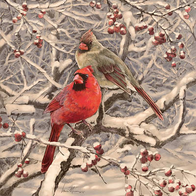 Wall Art - Drawing - Cardinals by Laurie Musser