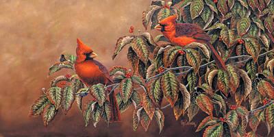 Wall Art - Painting - Cardinals Mug by Guy Crittenden