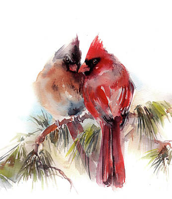 Through The Viewfinder - Cardinals wateroclor painting by Sophia Rodionov