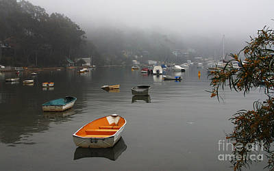 Red White And You - Careel Bay mist by Sheila Smart Fine Art Photography
