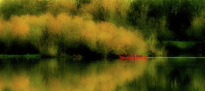 Red Canoe Photograph - Carefree Afternoon by Bonnie Bruno