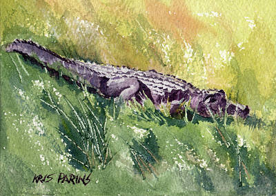 Alligator Painting - Carefree Carnivore by Kris Parins