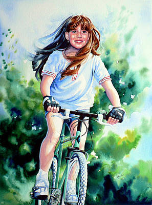 Girl On Bike Painting - Carefree Summer Day by Hanne Lore Koehler