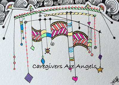 Drawing - Caregivers Are Angels Dangles by Jan Steinle