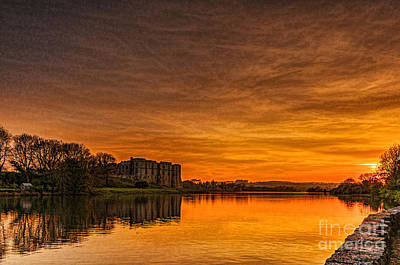 Music Tees - Carew Castle At Sunset by Steve Purnell