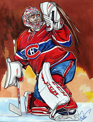 Nhl Hockey Drawing - Carey Price by Dave Olsen