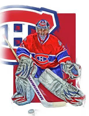 Canadiens Mixed Media - Carey Price Montreal Canadiens Oil Art by Joe Hamilton