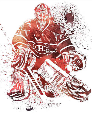 Mixed Media - Carey Price Montreal Canadiens Water Color Pixel Art 1 by Joe Hamilton