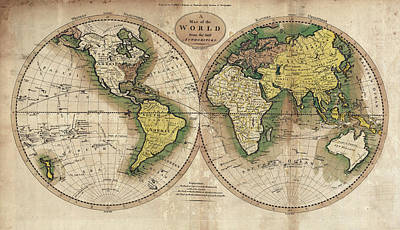 Photograph - Carey's Map Of The World  1795 by Daniel Hagerman