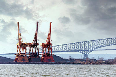 Photograph - Cargo Cranes And Francis Scott Key Bridge by Brian Wallace