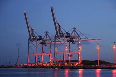 Photograph - Cargo Cranes At Night by Bradford Martin